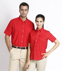 Poly-cotton poplin short sleeve shirts P5CA01